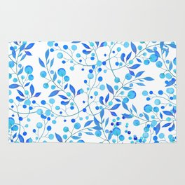 Modern hand painted teal blue watercolor floral pattern Rug