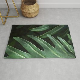 Tropical Leaves on Black Rug