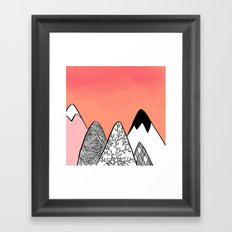 Modern abstract pink coral watercolor sky black white geometric floral mountains illustration Framed Art Print