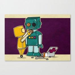 Robots on Friendship Canvas Print