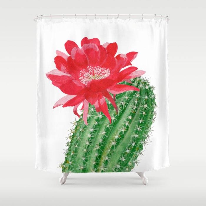 Actus With Red Flower Shower Curtain By Helenaart