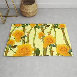 GOLDEN ROSES & THORNY CANES ON  YELLOW Rug