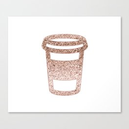 Sparkling rose gold coffee cup Canvas Print