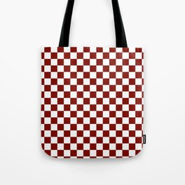 Vintage New England Shaker Barn Red and White Milk Paint Jumbo Square Checker Pattern Tote Bag