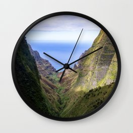 Hawaii: Ocean Aerial View from the Napali Cliffs Wall Clock