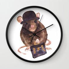 rat, journalist, office rat, rat in hat, cheeky rat, British, funny rat Wall Clock