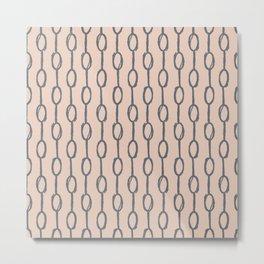 Pebble Dot Stripes Gray on Vintage Rose Pink Metal Print