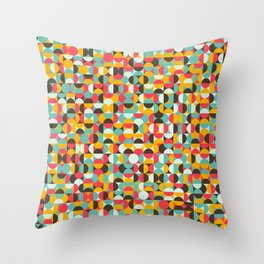 Colorful circles and semicircles. Throw Pillow