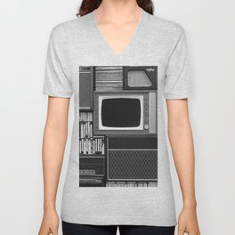 Everything Retro (Black and White) Unisex V-Neck