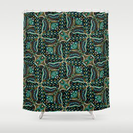 Bohemian Folkart Floral - Indigo, Turquoise & Burnt Red Flower Pattern with Folky Feel Shower Curtain