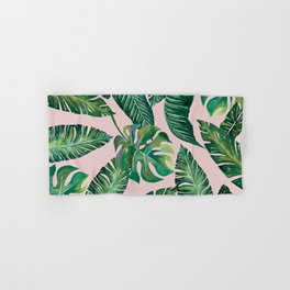 Jungle Leaves, Banana, Monstera Pink #society6 Hand & Bath Towel