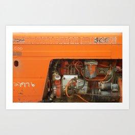 Orange Tractor Abstract Art Print