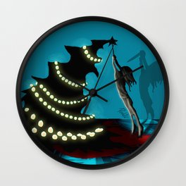 BLACK XMAS: Decorating the Christmas Tree Wall Clock