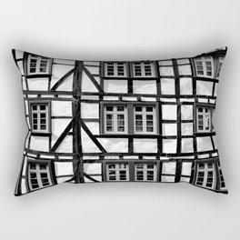 Black and white medieval street scene Rectangular Pillow