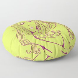 Psychedelic Lady Dream In Green Floor Pillow