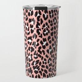 Blush pink black white abstract cheetah animal print Travel Mug