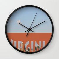 virginia Wall Clocks featuring Virginia by Ellies Wonder