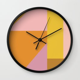 Shapes in Vintage Modern Pink, Orange, Yellow, and Lavender Wall Clock
