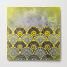 Abstract mandala scale pattern Metal Print