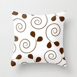 Brown Floral Swirl Pattern Throw Pillow