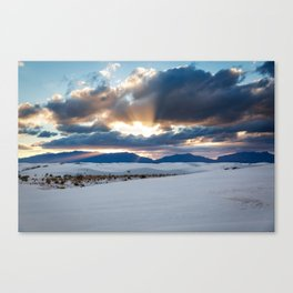 One More Moment - Sunbeams Burst From Clouds Over White Sands New Mexico Canvas Print