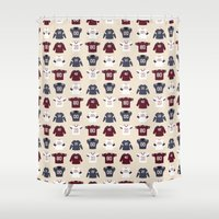 nfl Shower Curtains featuring Birth of Pro Football by Joe Gemma