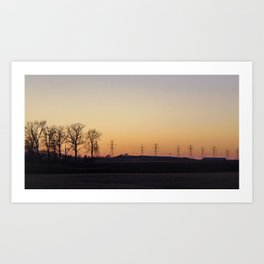 Powerlines in front of sunset Art Print