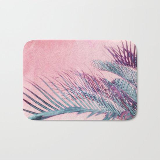 Velvet Pink Palms Bath Mat