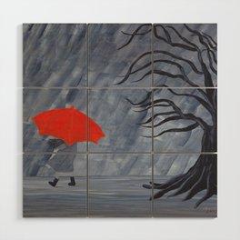 Orange Umbrella Wood Wall Art