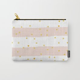 Pink Stripes & Gold Confetti Carry-All Pouch