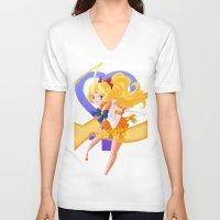 makeup V-neck T-shirts featuring Venus Power Makeup! by Mikeymaru