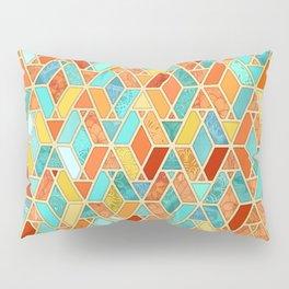 Tangerine & Turquoise Geometric Tile Pattern Pillow Sham