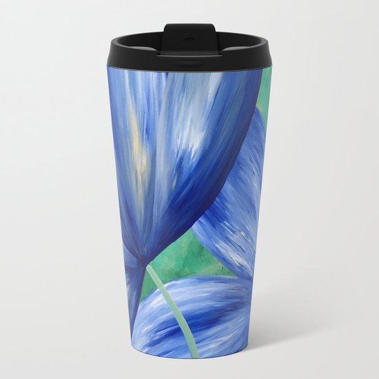 Large Blue Flowers Travel Mug