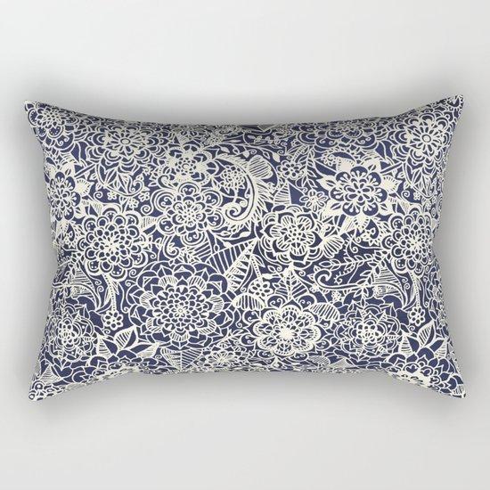 Lace on Nautical Navy Blue Rectangular Pillow