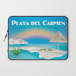 Playa del Carmen, Mexico - Skyline Illustration by Loose Petals Laptop Sleeve