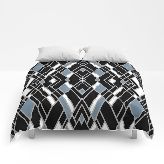 Art Deco Zoom Blue Comforters