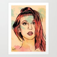 hayley williams Art Prints featuring Hayley Williams by Adora Chloe