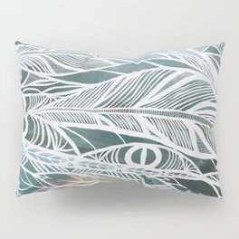 Feathery Design in Emerald Green Pillow Sham