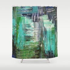 AQUATIC COMMOTION in Color - Textural Ocean Beach Nautical Abstract Acrylic Painting Wow Winter Xmas Shower Curtain