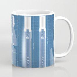 NASA SpaceX Crew Dragon Spacecraft & Falcon 9 Rocket Blueprint in High Resolution (light blue) Coffee Mug