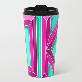 """OK"" 3D Letters (Mint Green, Deep Pink) Travel Mug"