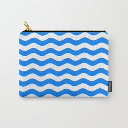 Wavy Stripes (Azure/White) Carry-All Pouch