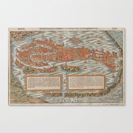 Vintage Pictorial Map of Venice Italy (1550) Canvas Print