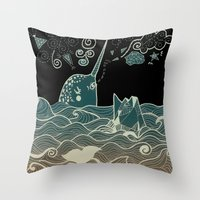 narwhal Throw Pillows featuring Narwhal by Judit Canela