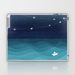 Garlands of stars, watercolor teal ocean Laptop & iPad Skin