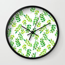 Watercolor palm leaves illustration Wall Clock
