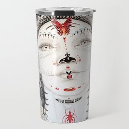 Day of the Dead Portrait Sugar skull with Moth and insect Travel Mug
