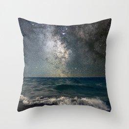 Milky Way Over The Sea Throw Pillow