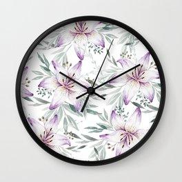 Lilium & Eucalyptus pattern Wall Clock
