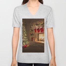 Holiday Christmas Christmas Tree Fireplace Christm Unisex V-Neck